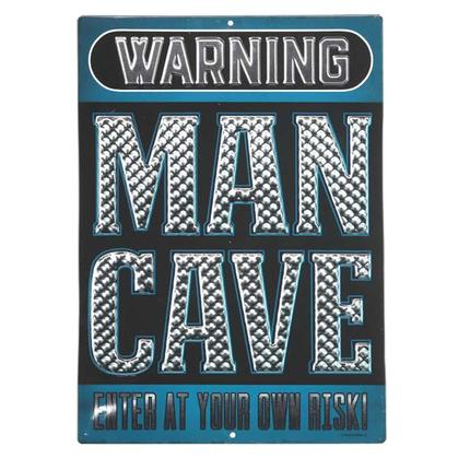 MAN CAVE EMBOSSED TIN SIGN 10x14