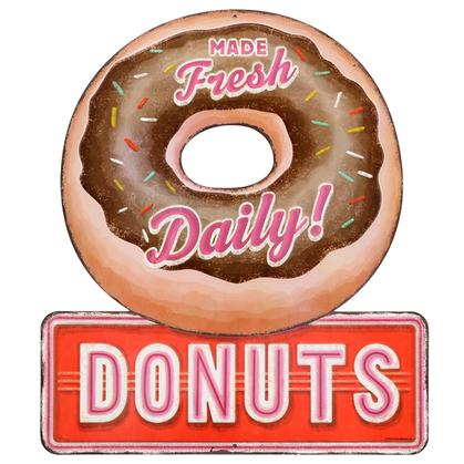 DONUTS EMBOSSED TIN SIGN 13x15