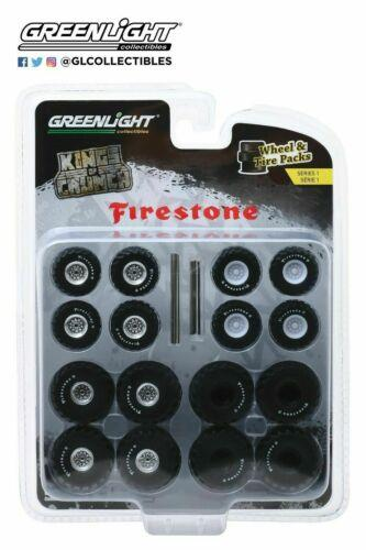 FIRESTONE KINGS OF CRUNCH WHEEL & TIRE PACKS - 16 Wheels, 16 Tires, and 8 Axles, Wheel and Tires Packs Series 1