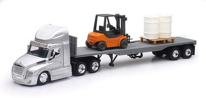 Freightliner Cascadia Tractor with Flatbed and Forklift and Pallet