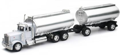 Peterbilt 379 Twin Oil Tanker Truck in White with Chrome Tanks