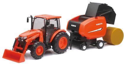 Kubota M5-111 Tractor with Round Hay Baler