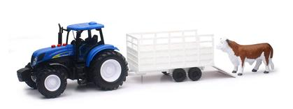 New Holland Farm Tractor with Trailer and Cow