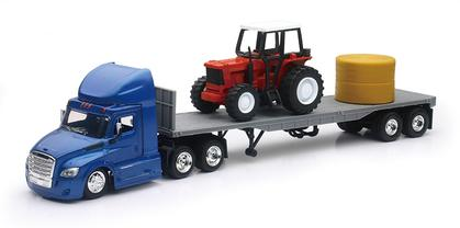 Freightliner Cascadia Tractor with Flatbed and Farm Tractor
