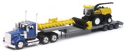 Kenworth Truck and Lowboy Trailer with New Holland Harvester