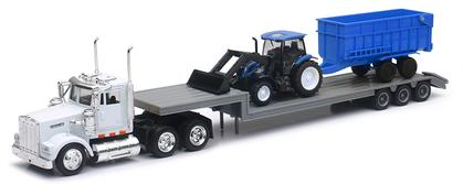 Kenworth Truck and Lowboy Trailer with New Holland Farm Tractor