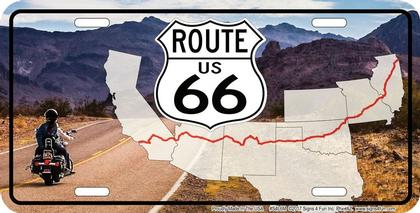 Route 66 Mountains Map License Plate