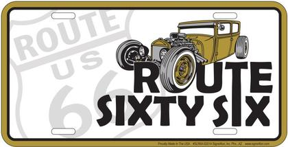 Route 66 Gold Auto License Plate