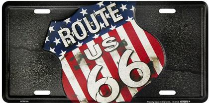 Route 66 Flag Black License Plate