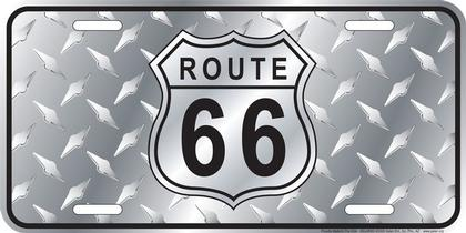 Route 66 Diamond Polished License Plate