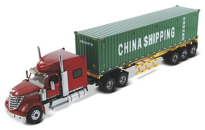 International LoneStar Sleeper with Skeletal Trailer and 40' China Shipping Container