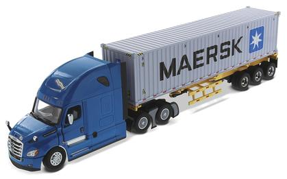 Freightliner New Cascadia with Sleeper and Skeletal Trailer with MAERSK 40' Shipping Container