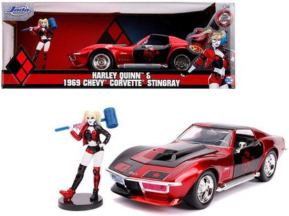 Chevrolet Corvette Stingray 1969 with Harley Quinn Figure DC Comics Bombshells