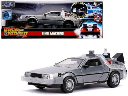 DELOREAN BRUSHED METAL TIME MACHINE W/LIGHT BACK TO THE FUTURE 2