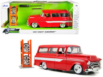 Chevrolet Suburban 1957 with Extra Wheels & Stripes
