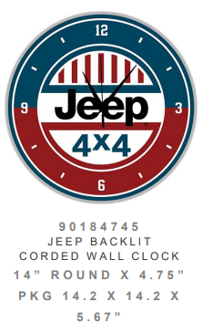 Jeep backlit Clock