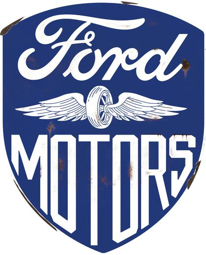 FORD MOTORS HIGH GLOSS DOMED TIN SIGN