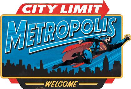 SUPERMAN METROPOLIS CITY LIMIT EMBOSSED TIN SIGN