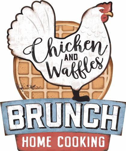 BRUNCH CHICKEN AND WAFFLES EMBOSSED TIN SIGN