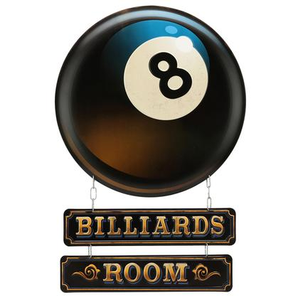 BILLIARDS ROOM LINKED EMBOSSED TIN SIG