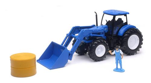 New Holland Farm Tractor with Front Loader, Hay Bale, and Figure