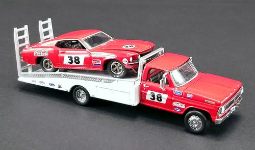 Ford F-350 Ramp Truck and #38 1969 Trans Am Mustang