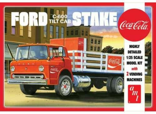 Ford C600 Stake Bed Truck w/Coca-Cola Machines plastic model kit 1/25