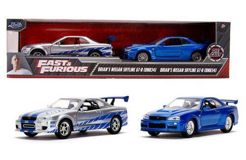 NISSAN SKYLINE GT-R R34 SILVER & BLUE FAST & FURIOUS 2 PACK 1/32