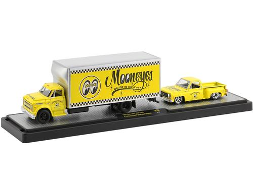 1968 Chevrolet C60 Truck and 1976 Chevrolet Silverado Stepside Pickup Truck Bright Yellow Mooneyes