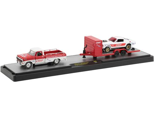 1969 Ford F-100 Ranger Pickup Truck with Trailer and 1966 Ford Mustang Gasser White with Red Stripes Crane Cams