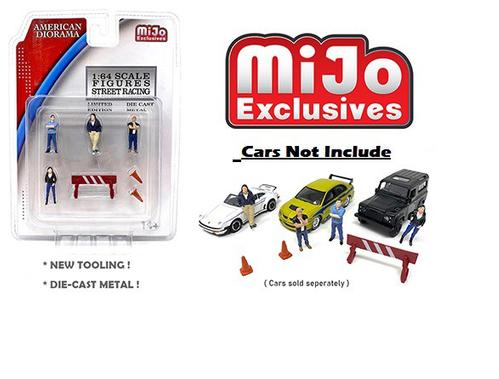 Street Racing Figurine 6 piece Diecast Set (4 Figurines and 2 Accessories)
