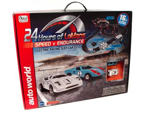 Auto World 16' 24 Hours of Le Mans Speed V Endurance Slot Race Set HO Scale