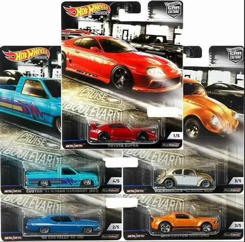 HOT WHEELS 2019 CAR CULTURE PREMIUM CRUISE BOULEVARD 5 CAR SET