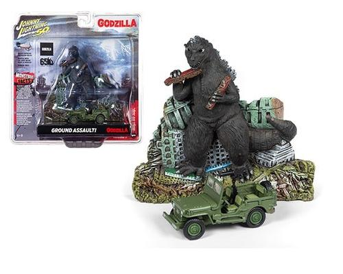 Godzilla Monster w/Japan Police Reserve Corps Willys MB Jeep 1/64