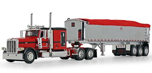 Peterbilt Model 389 with 63 Flattop Sleeper in Black and MAC Half Round End Dump Spread-Axle Trailer