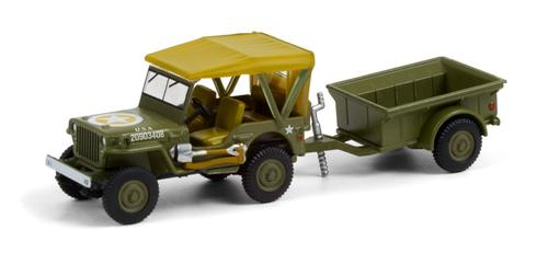 1943 Willys MB Jeep with M5 Liquid Vesicant Detector Invasion Star and 1/4 Ton Cargo Trailer