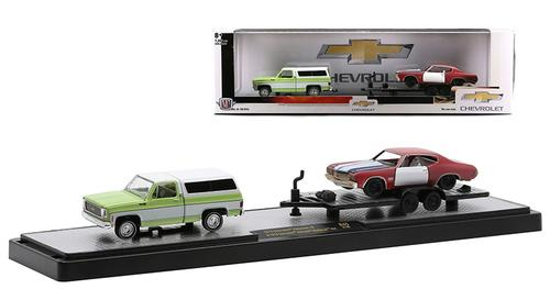 1973 Chevrolet Cheyenne 10 with Flatbed Trailer and 1970 Chevrolet Chevelle Malibu SS 454