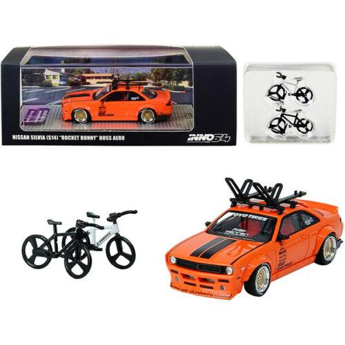 Nissan Silvia (S14) Rocket Bunny Boss Aero Orange with Roof Rack and 2 Bicycles