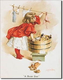 Ivory Soap Girl Washing - A busy Day