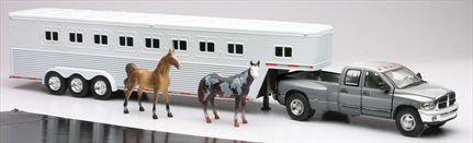 Dodge RAM 3500 With Horses in Trailer