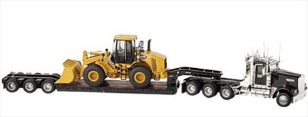 Trail King Lowboy with CAT 950H Wheel Loader With