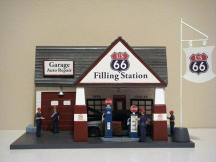 Diorama de station d 39 essence route 66 for Garage route 66 metz