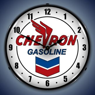 Chevron Gasoline Backlit Lighted Clock