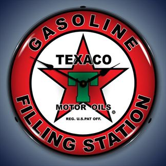 Texaco Gasoline Filling Station Backlit Lighted Clock
