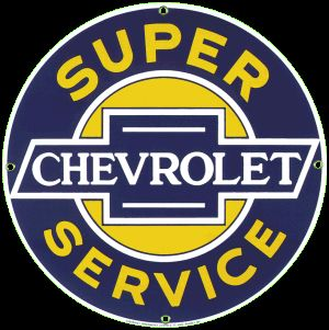 Chevrolet Service Porcelain on Steel Sign