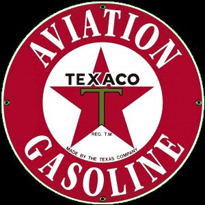 Texaco Aviation Gas Porcelain on Steel Sign
