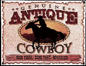 Antique Cowboy Porcelain on Steel Sign