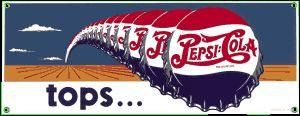 Pepsi Tops Porcelain on Steel Sign