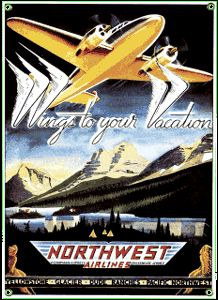 Northwest Airlines Porcelain on Steel Sign
