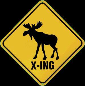 Moose Crossing Porcelain on Steel Sign
